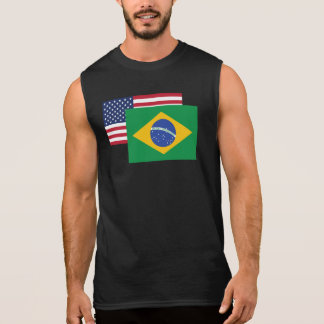 American And Brazilian Flag Sleeveless Tees