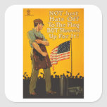 American Flag Hats Off Sleeves Up WWI Propaganda Square Sticker