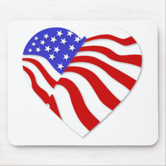 American Flag Heart America USA Valentine Popular Mouse Pad