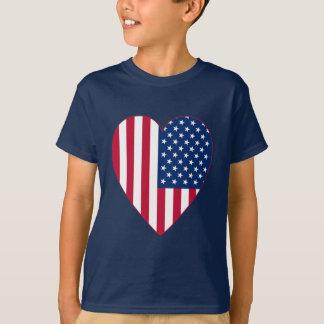 American Flag Inside A Big Heart Tee Shirts