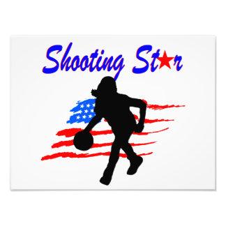 AMERICAN FLAG SHOOTING STAR BASKETBALL GIRL ART PHOTO