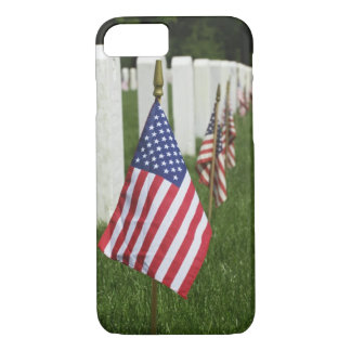 American flags on tombs of American Veterans on 2 iPhone 7 Case