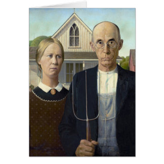 American Gothic by Grant DeVolson Wood Note Card