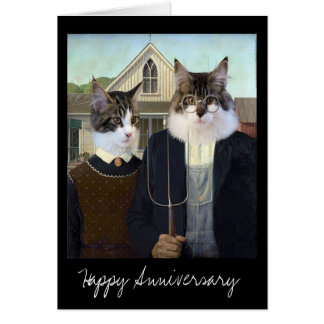 American Gothic funny Cat anniversary Greeting Card