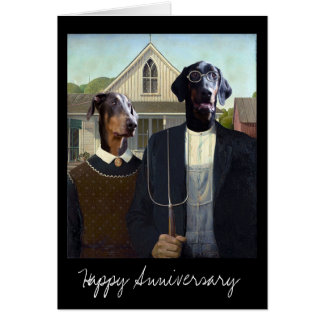 American Gothic funny Doberman dog anniversary Greeting Card