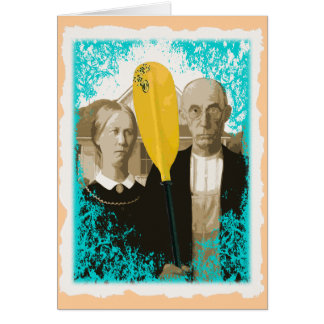 AMERICAN GOTHIC KAYAKERS GREETING CARD