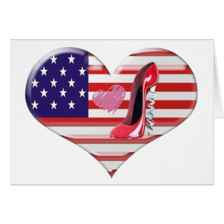 American Heart Flag and Corkscrew stiletto Shoe Greeting Card