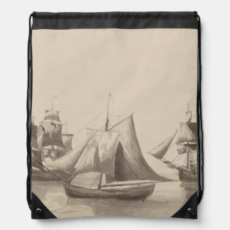 American History - Sailing from Halifax Drawstring Backpack