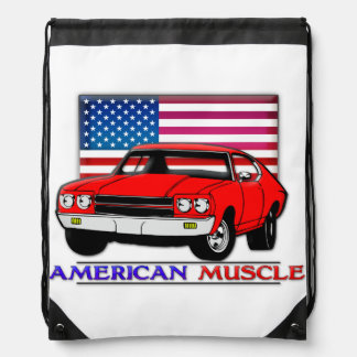 American Muscle Cars Nylon Drawstring Backpack