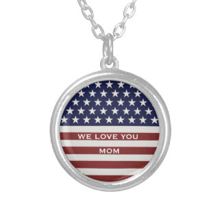American USA Flag Patriotic July 4th Custom Round Pendant Necklace