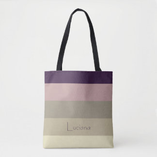 Amethyst Storm Stripes Personalized Tote Bag