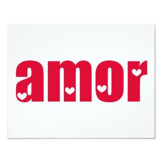 Amor! Spanish Love design! 11 Cm X 14 Cm Invitation Card
