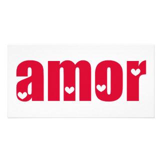Amor! Spanish Love design! Personalised Photo Card