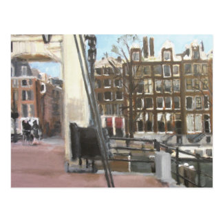 Amsterdam Bridge and Canal Houses Fine Art Postcard