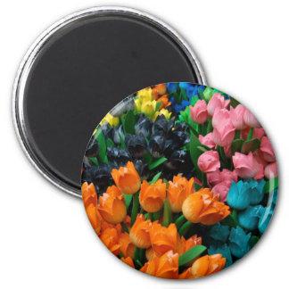Amsterdam Tulips 6 Cm Round Magnet