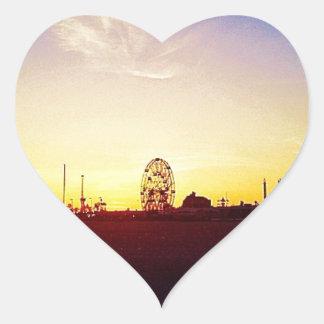 Amuesment Park Sunset Heart Sticker