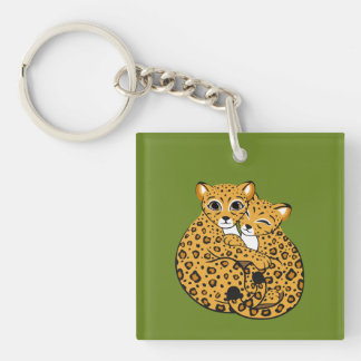 Amur Leopard Cubs Cuddling Art Double-Sided Square Acrylic Key Ring