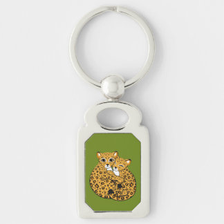 Amur Leopard Cubs Cuddling Art Silver-Colored Rectangle Key Ring