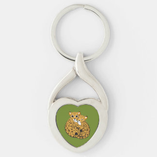 Amur Leopard Cubs Cuddling Art Silver-Colored Twisted Heart Key Ring