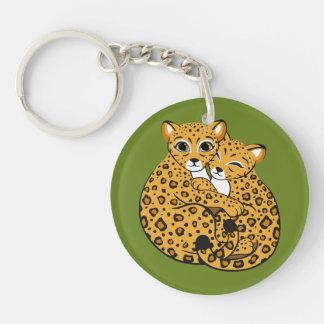 Amur Leopard Cubs Cuddling Art Single-Sided Round Acrylic Key Ring