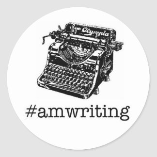 #amwriting round sticker