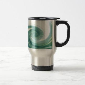 An ocean of green waves stainless steel travel mug