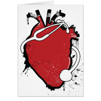 anatomical heart stethoscope greeting card
