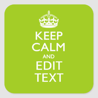 Android Green Keep Calm Have Your Text Square Sticker