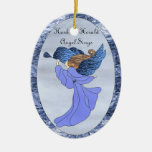 Angel in Blue Stained Glass Ceramic Oval Decoration
