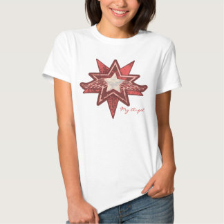 Angel star add your photo ladies red & white t t-shirts