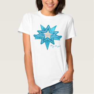 Angel star add your photo new mom blue & white t shirts