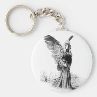 angel tattoo basic round button key ring