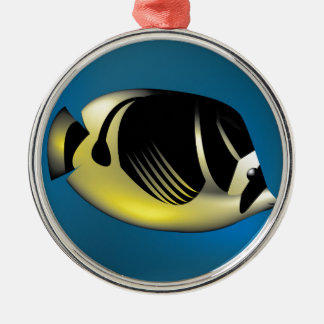 Angelfish Silver-Colored Round Decoration