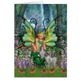 Angelica - Fairy Art With Woodland Fairy-Rocking H Note Card