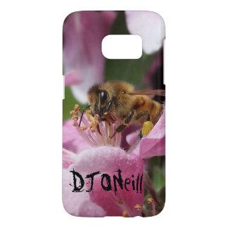 Angery Honey Bee On Pink Crabapple blossom