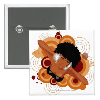 Angle of a woman enjoying music with headphones 15 cm square badge