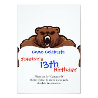 Angry Bear 13 Cm X 18 Cm Invitation Card
