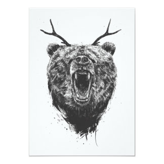 Angry bear with antlers 13 cm x 18 cm invitation card