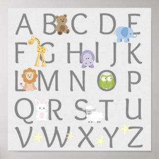 Animal Alphabet Nursery Poster