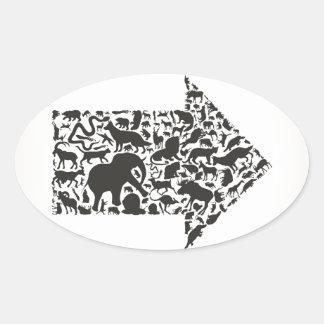 Animal arrow2 oval sticker