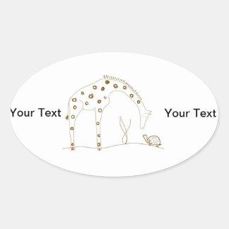 Animal Giraffe - Brown and White Oval Sticker