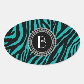 Animal Print Zebra Pattern and Monogram Oval Sticker
