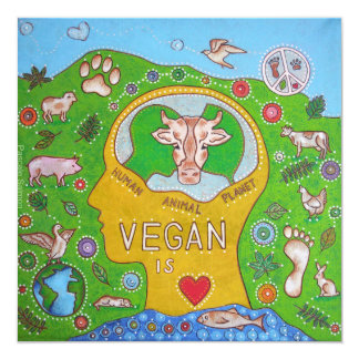 Animal Vegan human planet 13 Cm X 13 Cm Square Invitation Card