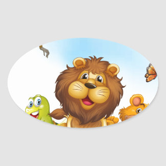 Animals and flowers oval sticker