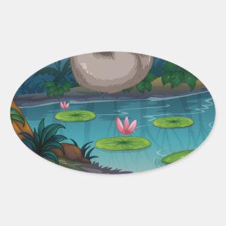 Animals and pond oval sticker