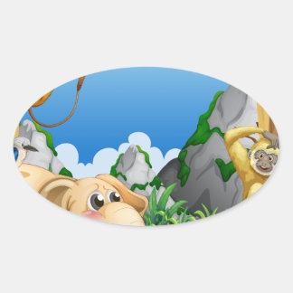 Animals Oval Sticker