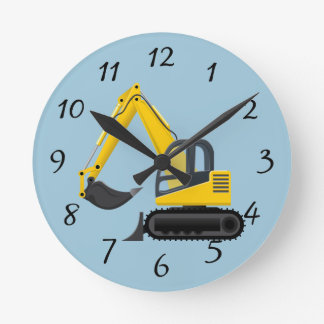 Animated Backhoe Wall Clocks
