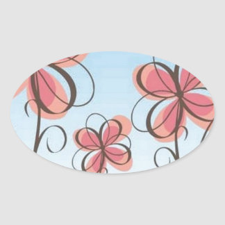 animated-pink-flowers-vector oval sticker