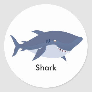 Animated Shark Round Sticker