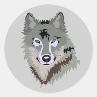Animated Wolf Face Round Sticker